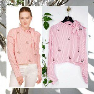 $189 NWT Walter Baker Pink Striped Pussy Bow Top L